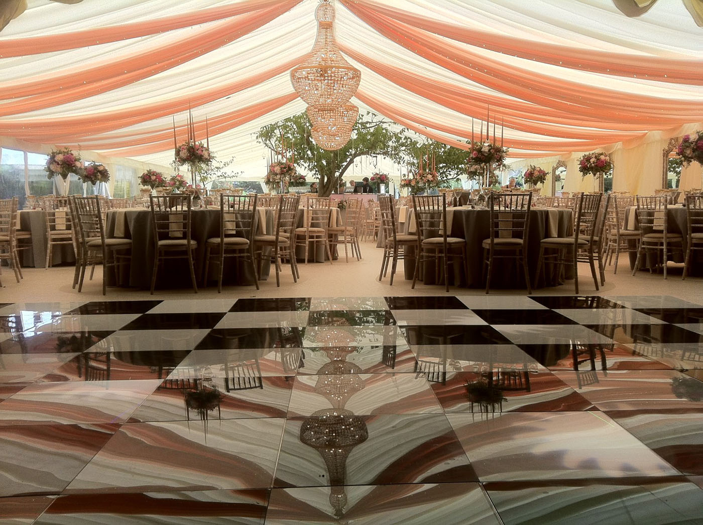 B&W dance floor and draping